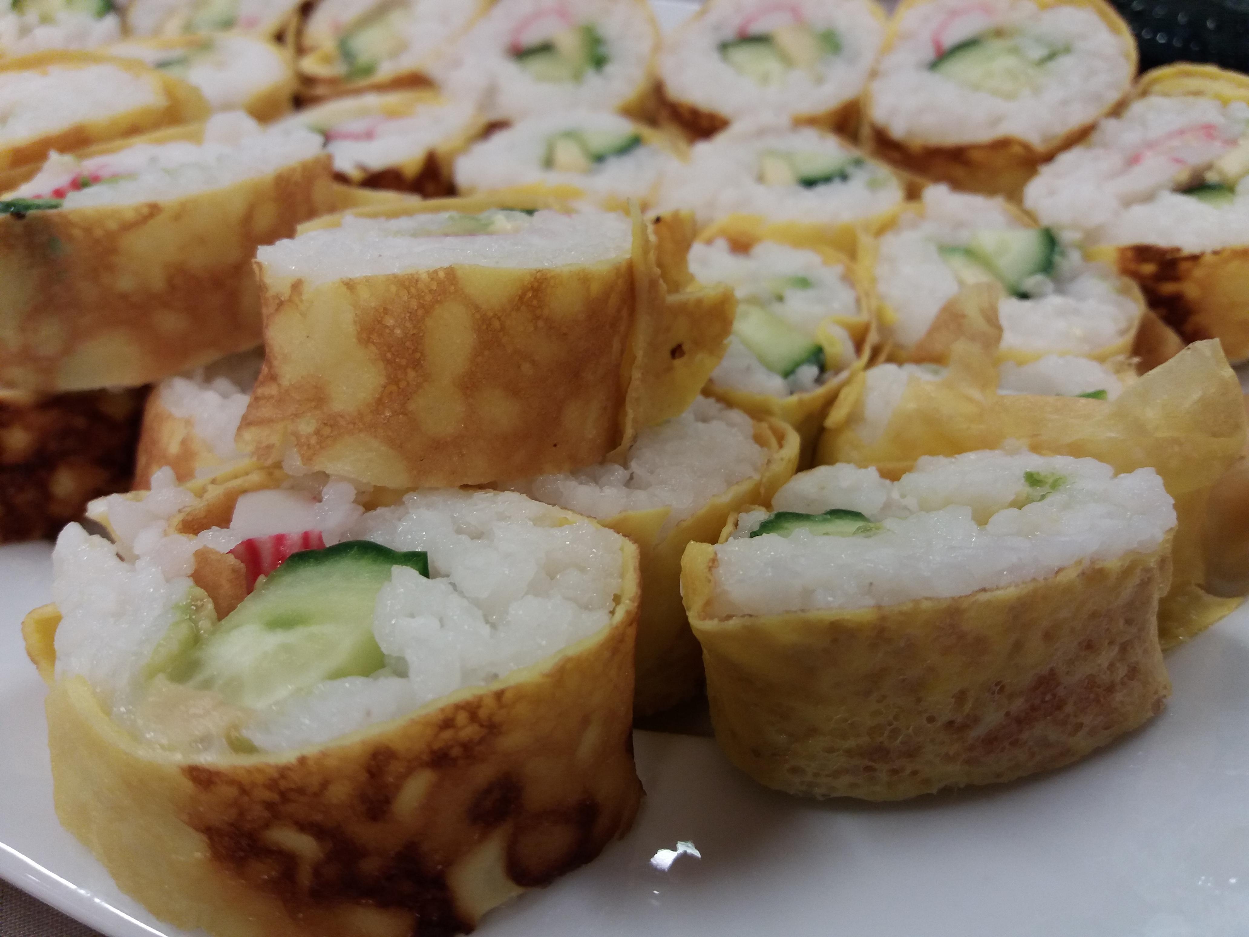 Sushi Rolls Futomaki With Eggs