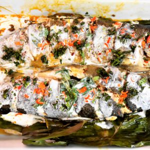 Thai Cuisine With Bammut: Steamed Whole Fish In Banana Leaves And Burned Chili Paste