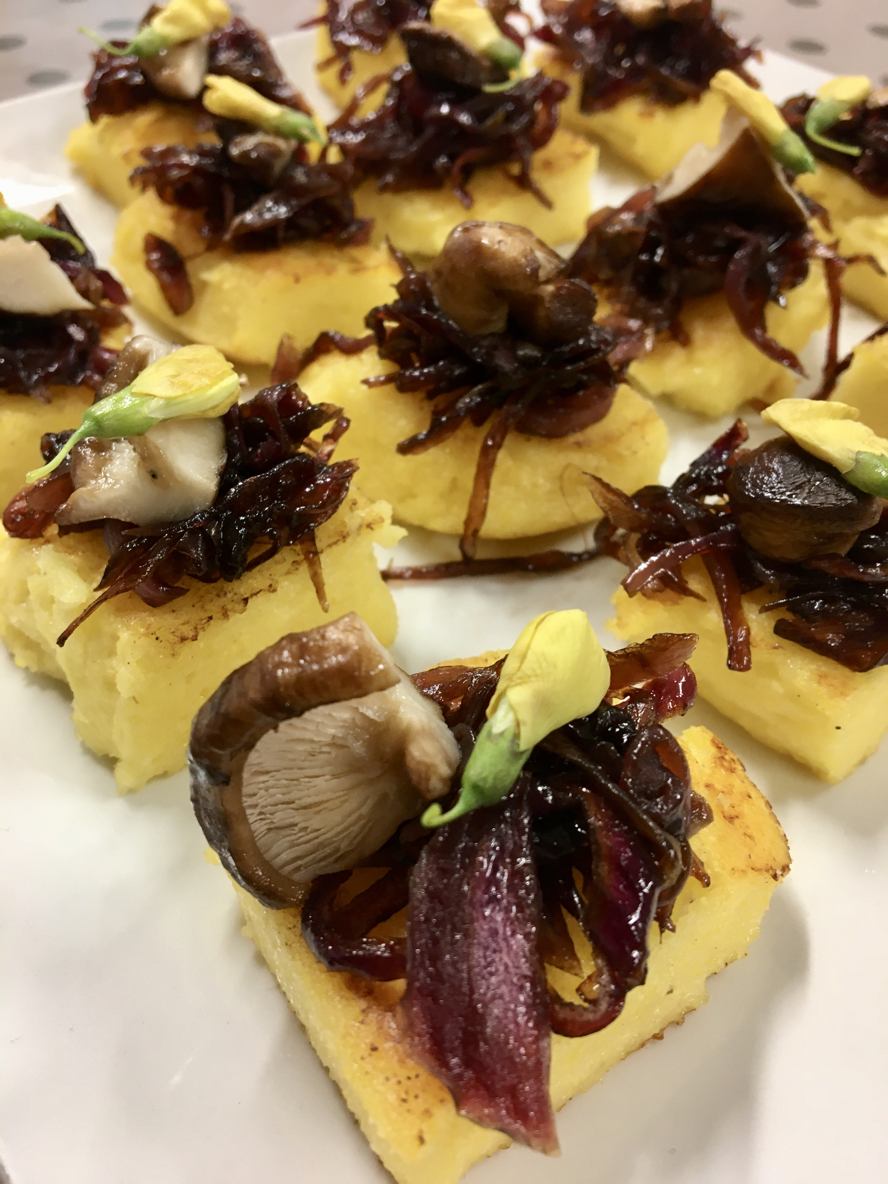 Finger Food With Jolanta – Polenta Bites With Caramelised Onions And Shiitake